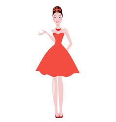elegant women the brunette dressed in polka dots vector image