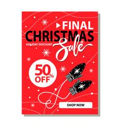 final christmas sale placard vector image