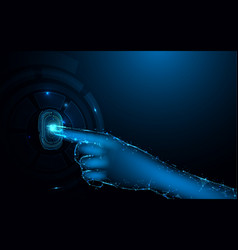 fingerprint scan and hand with digital conceptual vector image