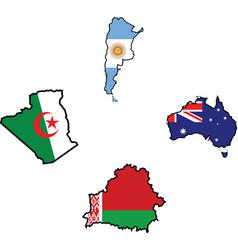 Flag in map of AlgeriaArgentinaAustraliaBelarus vector