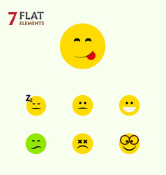 Flat icon gesture set of asleep displeased grin vector