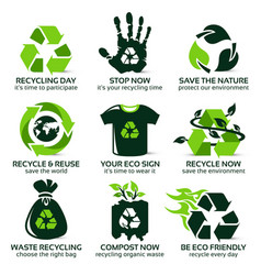 Flat icon set for eco friendly recycling vector