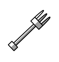 fork utensil grilled picnic shadow vector image