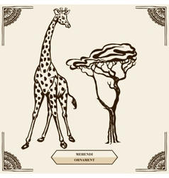 Giraffe and mehendi ornament vector