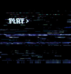 glitch error background vhs noise on tv screen vector image