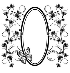 Graphic element flowers butterfly and frame vector