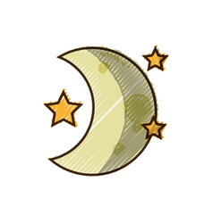 Grated cute moon with stars in the night space vector