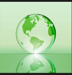 Green shining transparent earth globe vector