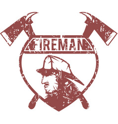 Grunge emblem fire department with fireman vector