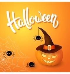 Halloween greeting card with pumpkin wearing hat vector
