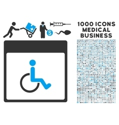 Handicapped Calendar Page Icon With 1000 Medical vector
