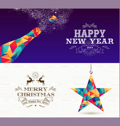 Happy new year 2019 merry christmas bottle star vector