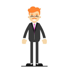 Happy redheaded businessman character in suit vector