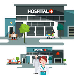 hospital building with doctors vector image