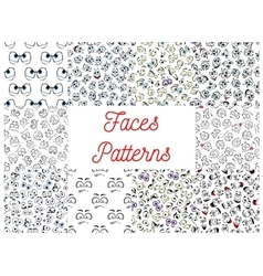 Human cartoon faces patterns vector