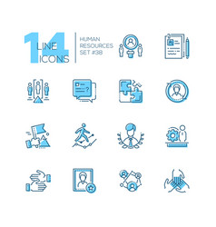 human resources - set of line design style icons vector image