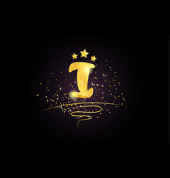 I letter alphabet icon design with golden star vector