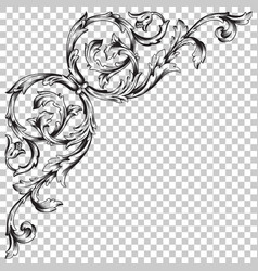 isolate corner ornament in baroque style vector image