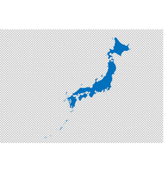 japan map - high detailed blue map with vector image
