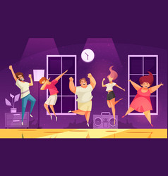 jumping people at party background vector image