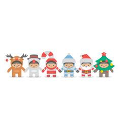kids holding hand in christmas costumes vector image