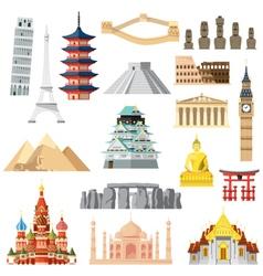 Landmarks set in flat design vector