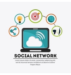 Laptop and icon set Social Network design vector image