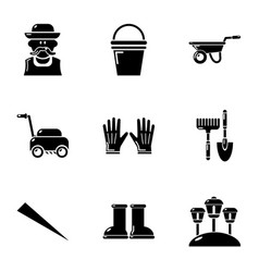 Lawn icons set simple style vector
