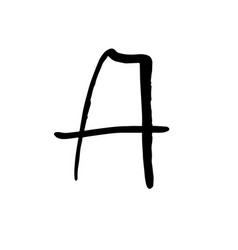 Letter a handwritten by dry brush rough strokes vector