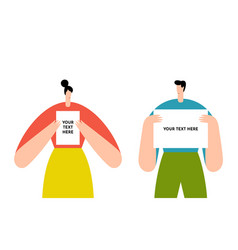 Man and woman holding showing white blank board vector