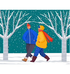 Man and woman walk in snowy lawn winter time vector