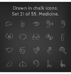 Medicine icon set drawn in chalk vector image