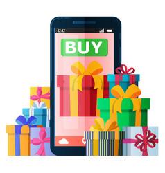 mobile online shopping illyustatsiyasmartfon vector image