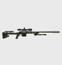 Modern sniper rifle on white vector