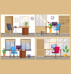 Modern workplace space for several workers office vector