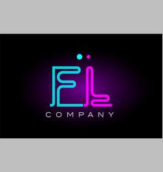 neon lights alphabet fl f l letter logo icon vector image
