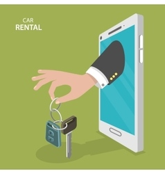 Online rental car service flat concept vector