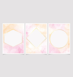 pink and gold watercolor background with bokeh vector image
