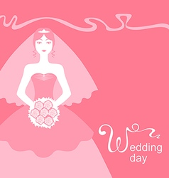 Pink wedding bride vector