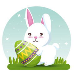 rabbit with easter egg decoration to event vector image