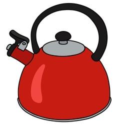 Red metal kettle vector