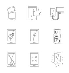 Repair phones fix icon set outline style vector