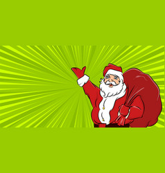 santa claus hold big sack radial background vector image