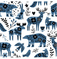 Scandinavian animals seamless pattern vector
