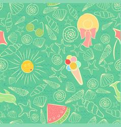 Seamless pattern on summer sea vacation theme vector