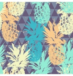 Seamless pattern with pineapple on triangle vector