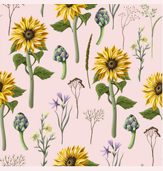 seamless pattern with sunflowers artichokes and vector image