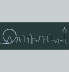 Seattle single line skyline vector