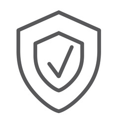 Security status line icon safety and protect vector