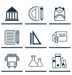 Set of 9 school icons includes chemical vector